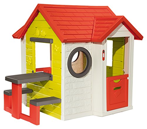 Smoby-810401 Mi Casa con Mesa Exterior, Color Verde/Gris/Rojo/Blanco, 154 X 120 X 135 Cm 810401