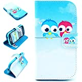 Angelina(TM) Lovely Birds Friend Style Luxury New Arrival Wallet Design Flip Leather Pouch Cover Case for Samsung Galaxy S3 MINI i8190