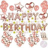 Geburtstagsdeko Rose Gold :Helium Buchstaben Folienballons Happy Birthday Banner&22 Star Paper Garland &20Latex Ballons &15 Konfetti Luftballon&4 Stern Herz Ballon für Mädchen 1 jahr Geburtstag Party