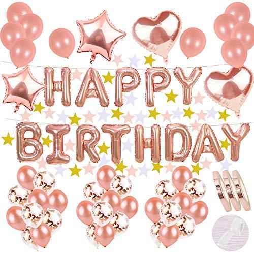 cholinchin Decoración de cumpleaños Rosa Dorada:Letras Helio Globos Aluminio Feliz Banner y 22 Paper Garland y 20 Balloons y15 Confetti Balloon y4 Star Heart Globos para niñas Party