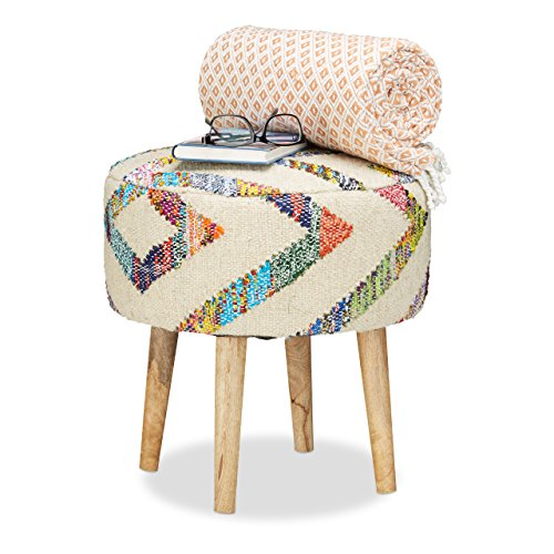 Relaxdays Retro Vintage reposapiés hecha a mano, tapizado, con cubierta de tela, redondo puf Otomano, patas de madera de mango maciza, hxdia 44,5x 42cm
