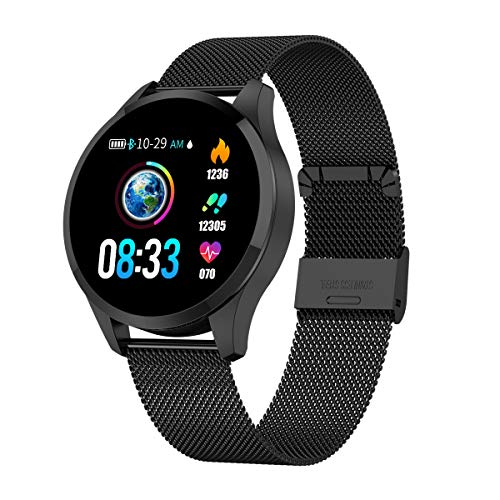 GOKOO Bluetooth Smartwatch Damen Herren Sportuhr Fitnessuhr Intelligente Armbanduhr mit Schrittzähler Pulsmesser Schlafmonitor für Android IOS (Schwarz)