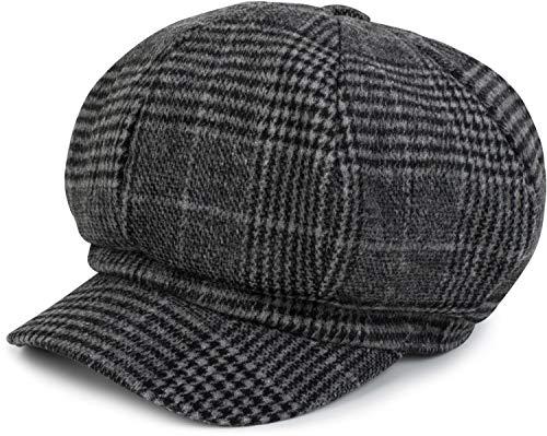 styleBREAKER Bakerboy Schirmmütze mit Glencheck Karo Muster, Ballonmütze, Newsboy Cap, Unisex 04023060, Farbe:Grau-Schwarz
