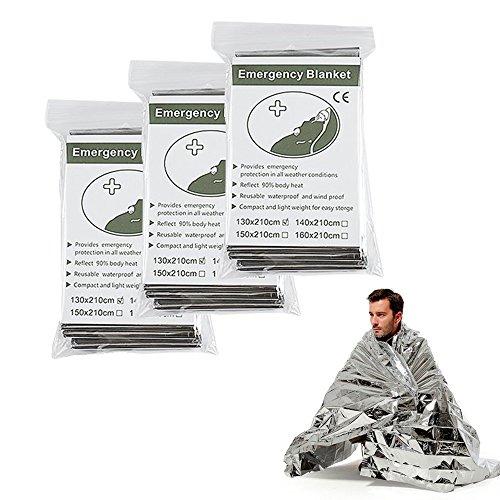 Rettungsdecke , Rettungsfolie, Multifunktional Notfalldecke, Erste- Hilfe- Decke, 210 x 130cm silber(Packung mit 3 Stück)