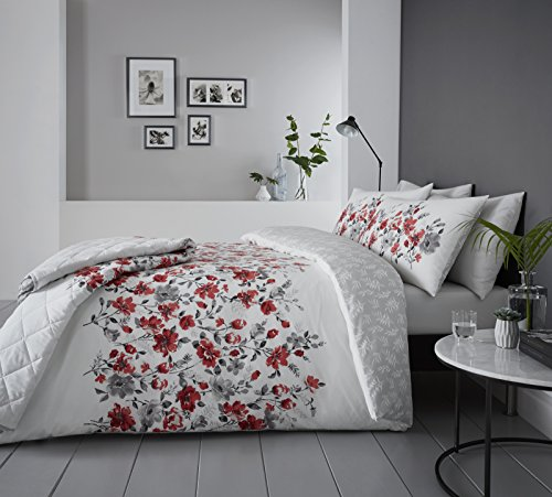 Dreams & Drapes - Gabriella - Easy Care Duvet Cover Set - Super King, Red Best Price and Cheapest