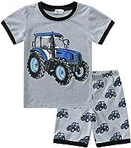 KILUS Little Boys Pajamas SUV Kids Summer Pjs Cotton Sleepwear Comfy Pajama Pantaloncini