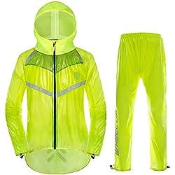 VGEBY Chaqueta de Ciclismo Unisex Impermeable con Capucha y Pantalones Correas Reflectantes Chaqueta de Lluvia para Deportes al Aire Libre(XL-Verde Fluorescente)