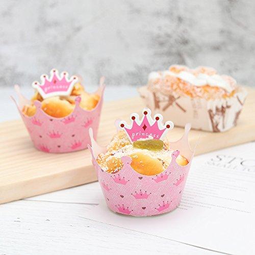 Yorgewd 24 Stück Prinzessin Crown Cupcake Wrapper Topper Picks Baby Mädchen Geburtstag Party Dekoration Kuchen Tassen (12 wraps + 12 topper)