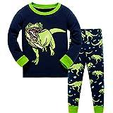 HIKIDS Jungen Schlafanzug Dinosaurier Langarm Zweiteiliger Schlafanzug Kinder Herbst Winter Bekleidung Nachtwäsche Dino Pyjama Set 134