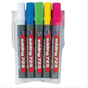 EDDING - 725 Néon Whiteboard-Marker, pointe biseautée, rose fluo, largeur du trait: env.2,0-5,0mm, corps en plastique (04 725 069)