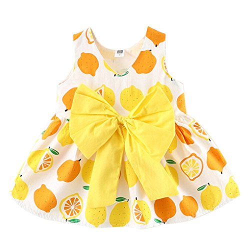 JYJM Baby Girls Sleeveless Lemon Big Bow Party Princess Dress Casual Tops Skirts clothing for girl 6-24 month (90, Weiß)