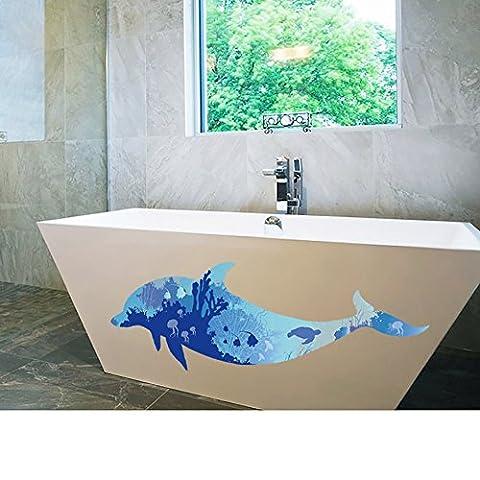 'sticker4u?Sticker mural mural Dauphin bleu | Effet Tableau?: 150x 60cm monde sous-marin poissons Aquarium Océan | imperméable Wall Stickers carrelage autocollant mural décoratif pour salle de bain salle chambre salon Gross