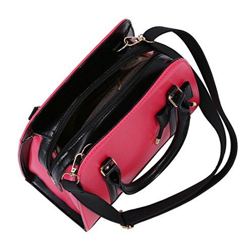 TOOGOO(R) Il messaggero di modo del sacchetto di spalla del sacchetto di spalla delle borse delle donne mette in mostra borse-nero rosso rosa