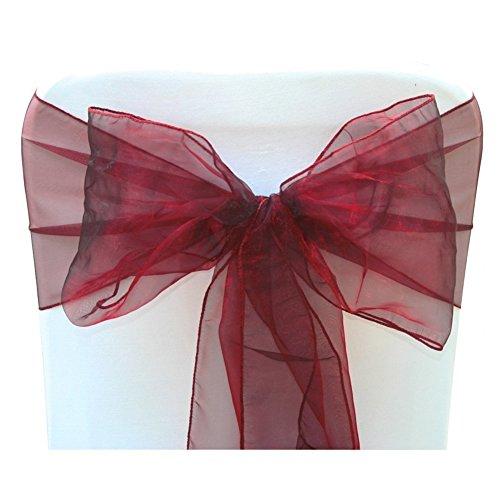 Yiuswoy 25 Stück Organza Schleifenband Stuhlhussen Stuhl Schärpe Band Schleifenband Dekorativ für Hochzeit Jahrestag Partys - Weinrot (Klassische Stuhlhussen)