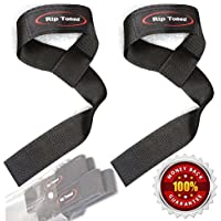 Lifting Straps By Rip Toned (PAIR) - Normal or Small Wrists - Bonus Ebook - Lifetime Warranty - Cotton Padded - Weightlifting, Crossfit, Bodybuilding, Strength Training, Powerlifting (Black)