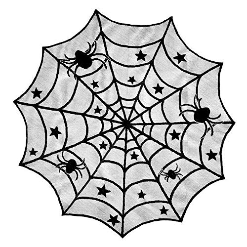 Sunshine D Halloween Tischdecke, Spinnennetz Runde Tischdecke Schwarz Spitze Tischdecken für Halloween Dekoration Indoor Home Decor