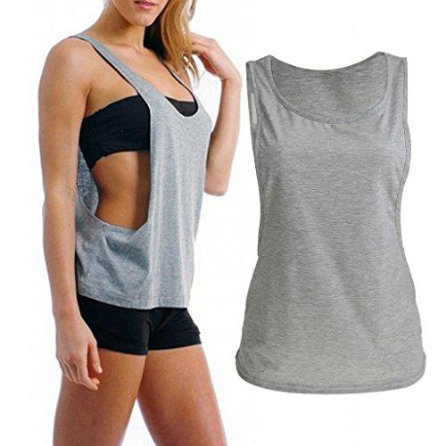 Maillot T-shirt Sans Manches Femmes Sport Entraînement Physique Gilet de Yoga Jogging Gris