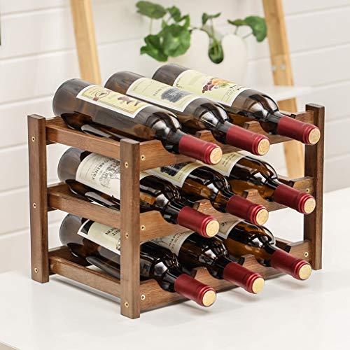 WLNKJ Modular Wine Rack - Bambus Weinregal Lagerregal Aus Holz Weinregal - Kleine Arbeitsplatte Weinregal (Multi Größe),3layer - Modular Wine Rack