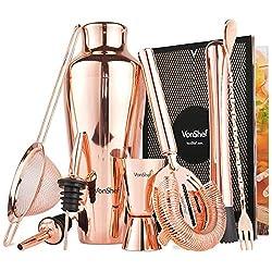 VonShef Beautify Kupfer Cocktail Shaker Set - Premium Edelstahl Cocktail Mischer mit Zubehör und Rezepten - Geschenkbox