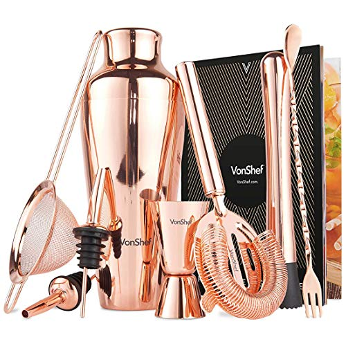 VonShef 9 Piece Cocktail Set - Parisian Copper Cocktail Shaker Kit in Gift Box with Accessories Including Glass, Jigger and Strainer