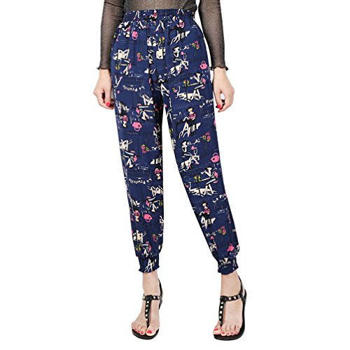 YuanDian Femme Casual été Mousseline Grandes Tailles Imprimé Taille Haute Neuf Points Pantalon Sarouel Baggy Pantalons Fluides Taille Elastique Bleu Femmes