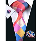 Barry.Wang Men Ties Plaid Necktie Set with Pocket Square Cufflinks Classic