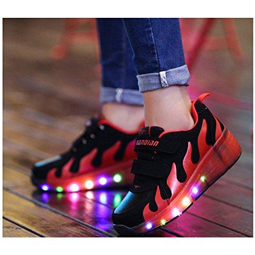 Tbbuy Unisex Bambini luce Led lampeggiante Ruote Mesh pattini a rotelle scarpe Inline Skate singole Trainer Gym Sport scarpe Per Kid Regalo di Halloween di Natale Rosa