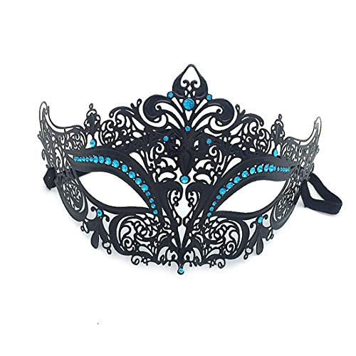 VJUKUBCUTE Sexy Women Es Black Vintage Masquerade Ausgefallene Kleid Masken Glänzende Strasssteine Venezianischen Eyemask-Halloween Mardi Gras Party Maske Halloween Women Cosplay Fashion,Lightblue