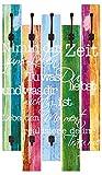 Artland Qualitätsmöbel I Garderobe mit Motiv 5 Holz-Paneele mit Haken 68 x 114 cm Statement Bilder Sprüche Texte Schrift Kunst Bunt A9GK Nimm Dir Zeit