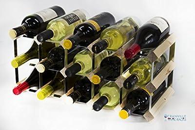 Madera de pino 15 botella clásico y metal autoensamblaje estante del vino galvanizado