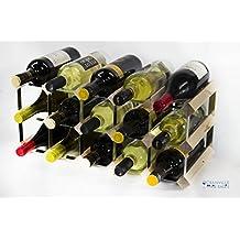 Cantinetta classica per 15 bottiglie di vino, realizzata in legno di pino e metallo galvanizzato, già montata