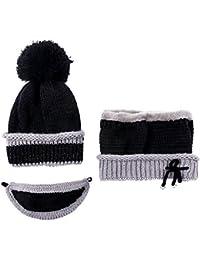 TININNA 3 pezzi Donna Invernali Caldo Lavorato a maglia Cappello con cuffia  con cappuccio Berretto da 28234a038c8d