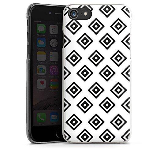 Apple iPhone X Silikon Hülle Case Schutzhülle Rauten Ethno Schwarz-Weiß Hard Case transparent