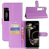 Kihying Hülle für Meizu Pro 7 Plus Hülle Schutzhülle PU Leder Flip Wallet Fashion Geschäft HandyHülle (Lila - JFC04)