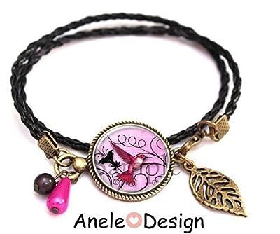 Bracelet colibri feuille oiseau