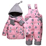 Vimukun Tute da Neve Bambino Inverno 3 Pezzi Tutone Cappuccio Piumino + Pantaloni e Salopette da Neve + Sciarpa Bambini Tuta da Sci Vestiti Completini e Coordinati Rosa 2-3 Anni