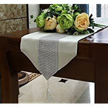 DIKETE® runner da tavola corridore della tabella Tovaglie di lusso tempestato di diamanti /sciarpa letto/ bandiera/ bandiera/ Gabe/ decorativo/ tavolo 13 x 72 pollici bianco crema