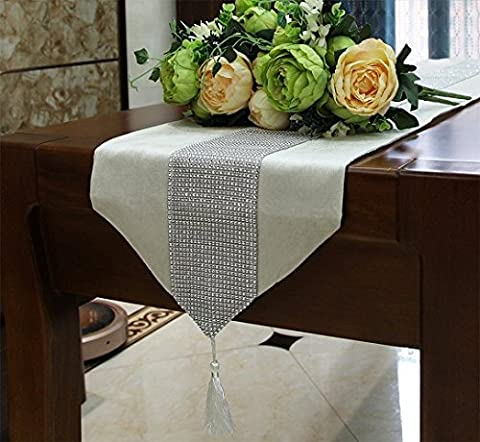 DIKETE® Table Runner Luxury Sparkly Dinner Tablecloth [Diamond Encrusted with Tassels] Classical Party Placemat for Wedding Christmas Reception Banquet Decor [13x72Inch] Creamy White