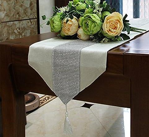 Premium Tischläufer Tischdecke Tischband Tischtuch Tischwäsche Tischvlies Tischdeko, DIKETE Luxus Samt Diamanten Tischläufer mit Wandteppich , 32 x185cm (creme)
