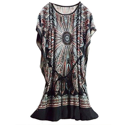 QIYUN.Z (TM) Kurzflügelhülse Der Oansatz Nationalen Blumen Lose Beiläufige Eingeklemmt Taille Kleid Damen Blusen Tuniken T-Shirts Tops Shirt Kleider Schwarz
