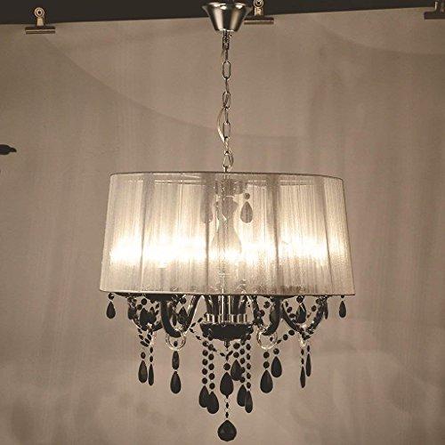 [QAZ Moderne Kronleuchter Led Lampen Weiß/Schwarze Zeichnung Lampenschirm  Kronleuchter E12/E14 LED Beleuchtung Glanz Droplight/Anhänger Beleuchtung  LED ...
