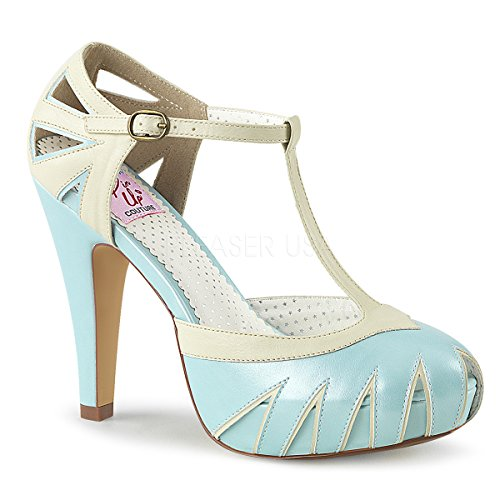Pin Up Couture BETTIE-25 B. Blue-Cream Faux Leather UK 7 (EU 40)