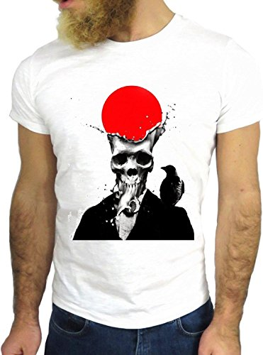 T SHIRT JODE Z1450 SKELETON SKULL JAPAN BIRD FLAG RED USA FUN COOL FASHION NICE GGG24 BIANCA - WHITE