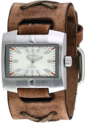 Nemesis #BFXB060S Men's Racing Sport Collection Brown Wide Leather Cuff BNand Watch