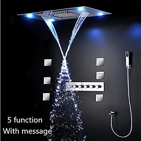 hm Düsen LED Dusche Combo mit 80x60cm mit 4 Dusche Kopf Messing Mixer Hand Dusche Funktionsrumpf Ploished