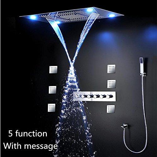 WEITING Düsen LED Dusche Combo mit 80x60cm mit 4 Dusche Kopf Messing Mixer Hand Dusche Funktionsrumpf Ploished