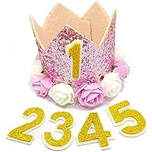 BIPY - Gorro de cumpleaños para niña con diseño de Corona Rosa, tamaño pequeño,