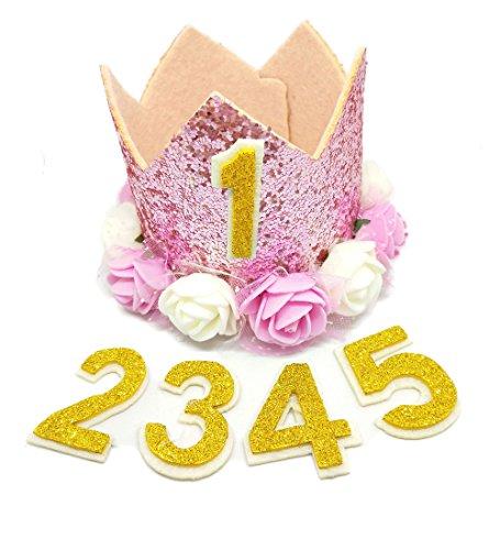 BIPY Pink Krone Hund Geburtstag Hat, für Mädchen Kleine Medium Große Hunde Katzen Schweine Sheeps Kaninchen mit 0–9Charms Wiederverwendbar Kostüme