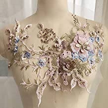 Aplique bordado, flores de tul con cuentas 3D, tela de encaje con diamantes de