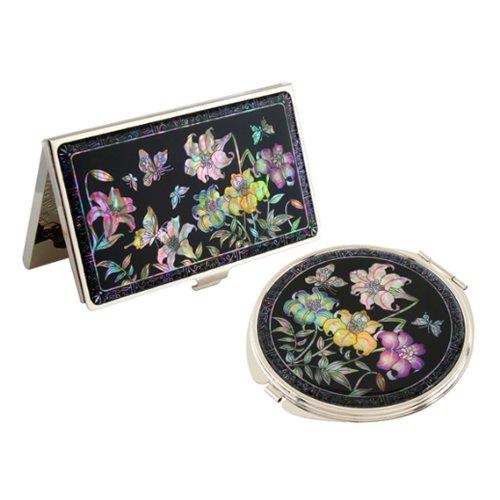 Set Miroir de Poche + Porte cartes de visite Nacre Collection Corée FLEUR DE LIS